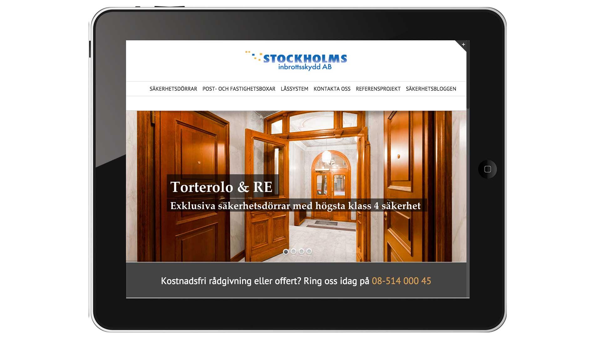 Stockholmsinbrottsskydd.se på tablet